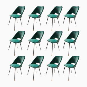 Italian Dining Chairs in Green Velvet, 1960s, Set of 12