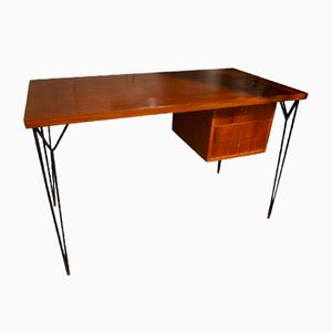 Italian Wood and Steel Desk, 1960s