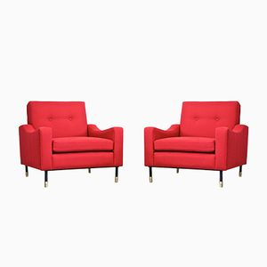 Vintage Italian Red Armchairs, Set of 2