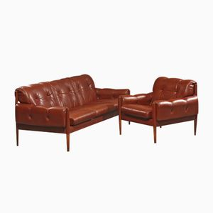 Mid-Century Danish Brown Leather Sofa & Armchair, 1960s