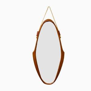 Ovaler Italienischer Mid-Century Spiegel mit Holzrahmen