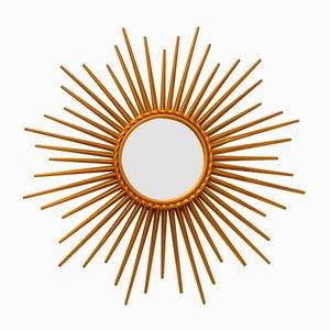 Französischer Mid-Century Spiegel in Sonnen Optik von Chaty Vallauris