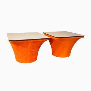 Orange Vintage Nachttische, 2er Set