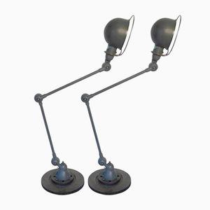 Industrielle Französische Tischlampen mit Zwei Armen von Jieldé, 1950er, 2er Set