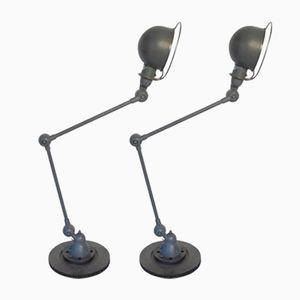 Industrielle Französische Zwei-Arm Tischlampen von Jieldé, 2er Set