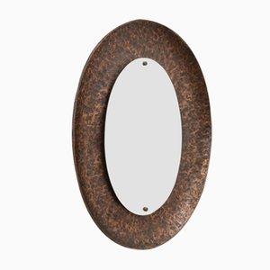 Vintage Hammered Bronze Oval Mirror by Angelo Bragalini