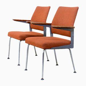 Sedie da ufficio Mid-Century in metallo, teak e placcate in cromo, set di 2