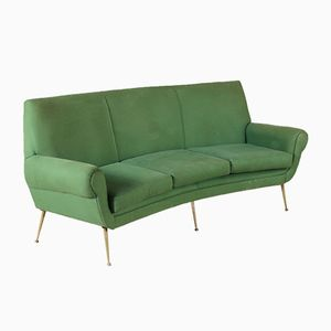 Vintage Sofa in Fabric and Brass