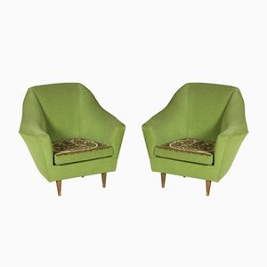 Italian Vintage Armchairs in Velvet with a Double Face Cushion, 1950s, Set of 2