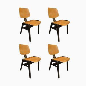 Italienische Holzstühle, 1960, 4er Set