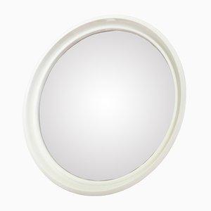 Specchio rotondo in plastica bianca, anni '70