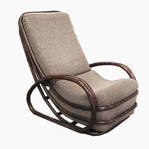 Italian Bamboo Lounge Chair with Cushion, 1970s