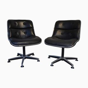 Black Leather and Chrome Swivel Chairs by Charles Pollock, 1970s, Set of 2
