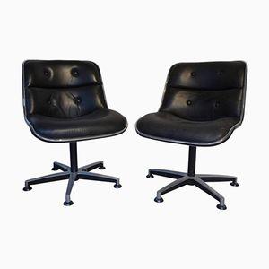 Sedia girevole in pelle nera e placcata in cromo di Charles Pollock, anni '70, set di 2