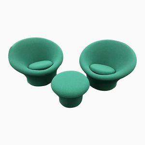 Grüne Mushroom Sessel & Hocker von Pierre Paulin für Artifort, 1960er