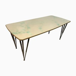 Italian Glass Topped Dining Table with Metal Legs, 1950s