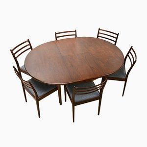 Britischer Ausziehbarer Teak Tisch & Sechs Stühle, 1970er