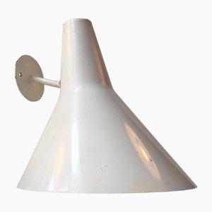 Lampada da parete modernista da esterni bianca di Fog & Morup, Danimarca, anni '70
