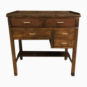 Industrial French Oak Workbench with Drawers, 1930s