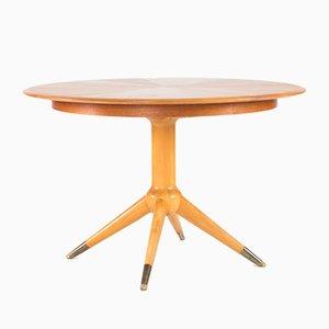 Table Ronde en Contreplaqué Teck par David Rosén pour Nordiska Kompaniet, 1950s