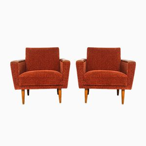 Brick Red Armchairs, 1950s, Set of 2