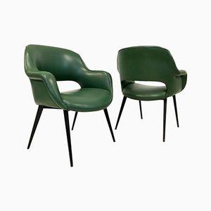 Italian Armchairs with Metal Legs, Set of 2