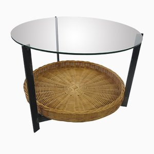 Tavolino in acciaio, vetro e vimini, anni '60