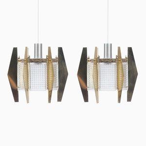 Lampes à Suspension par Carl Fagerlund pour Orrefors, Scandinavie, 1960s, Set de 2