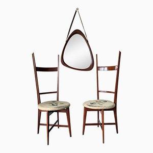 Italienische Vintage Teak Stühle & Spiegel Set