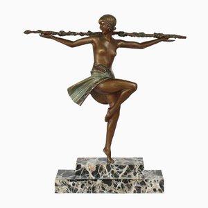 Scrultura Danseuse au Thyrse Art Déco di Pierre Le Faguays, anni '20