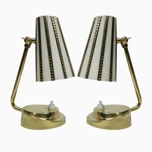Lampes de Chevet en Laiton, Italie, 1950s, Set de 2