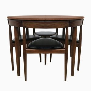 Mid-Century Danish Extending Teak Dining Table and Chairs by Hans Olsen for Frem Røjle