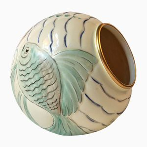 Art Deco Porcelain Ball Vase with Fish Motif's from Spode's Royal Jasmine, 1930s