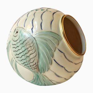 Art Deco Porzellan Ball Vase mit Fischmotiv von Spode's Royal Jasmine, 1930er