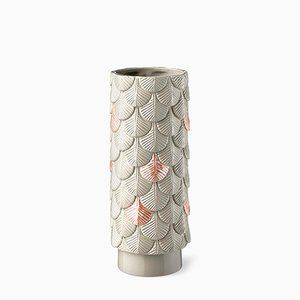 Plumage Hand-Decorated Grey and Pink Vase by Cristina Celestino for BottegaNove