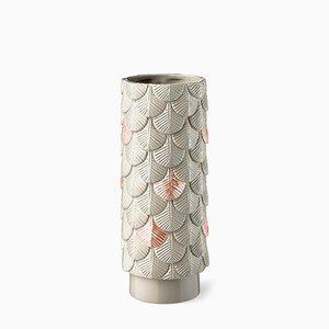Vaso Plumage rosa e grigio decorato a mano di Cristina Celestino per BottegaNove