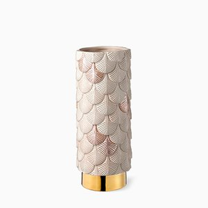 Plumage Hand-Decorated Pink Matt Satin and Luster Vase by Cristina Celestino for BottegaNove