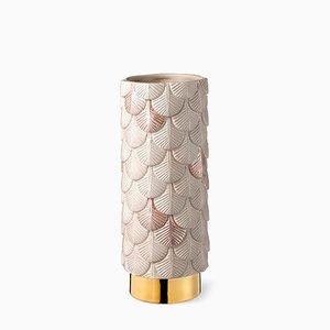 Vase Plumage Décoré à la Main Rose Mat Satin et Finition Brillante par Cristina Celestino pour BottegaNove