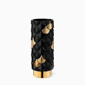 Vase Plumage Décoré à la Main Satiné Noir et Or par Cristina Celestino pour BottegaNove