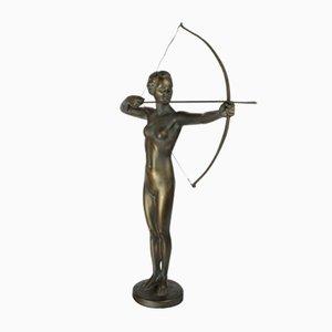 Statuina Art Deco di Diana la cacciatrice, Germania, anni '30