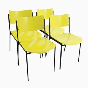 Sedie gialle, anni '60, set di 4