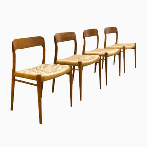 Vintage 75 Esszimmerstühle von Niels O. Møller für J.l. Møller, 4er Set