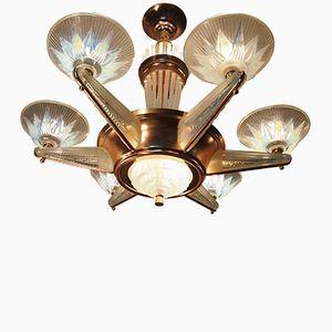 Vergoldeter Opalisierender Französischer Art Deco Kronleuchter von Petitot