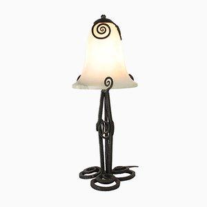 Art Deco Tischlampe aus Schmiedeeisen & Alabaster, 1920er
