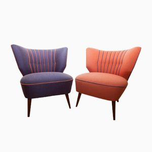 Mid-Century Orange & Plum Lounge Chairs, 1950s, Set of 2