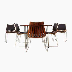 Palisander Esstisch & 6 Scandia Stühle von Hans Bratrud für Hove Møbler, 1960er