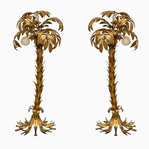 Lampade vintage a forma di palme dorate di Hans Kögl, set di 2