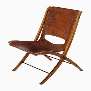 Dänischer Mid-Century X Chair in Cognacfarbenem Leder von Peter Hvidt & Orla Mølgaard-Nielsen für Fritz Hansen