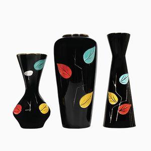 Schwarze Deutsche Vasen von Scheurich, 1950er, 3er Set