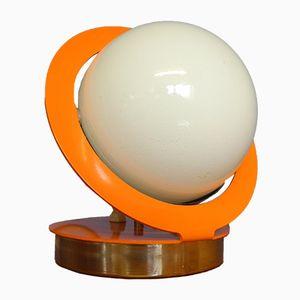 Sphärische Mid-Century Space Age Saturn Lampe in Orange mit Metallrahmen